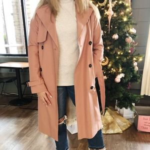 Pink TopShop double breasted trench coat